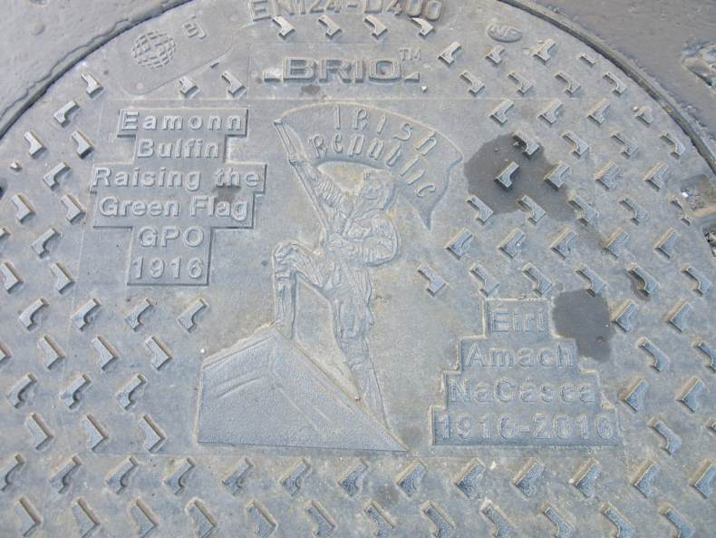 Commemorative manhole cover, honouring Eamon Bulfin, found in Dingle, Co. Kerry.