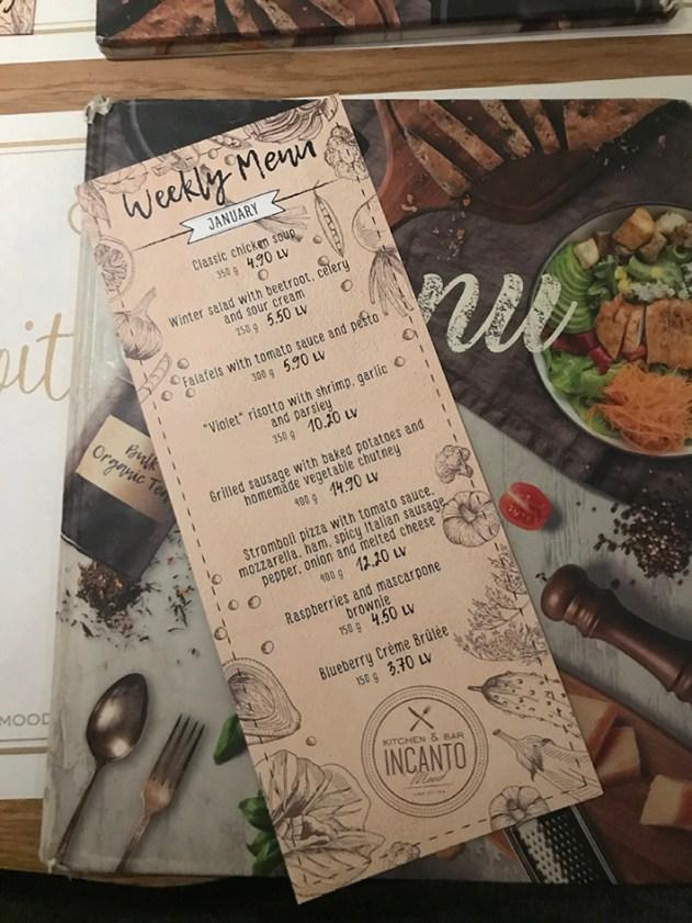 Incanto Burgas menu tammikuu 2018 kausimenu