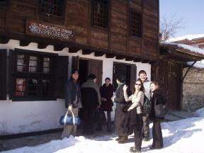 Arriving at the Turistichiska hostel. Brian at left.