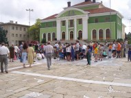 On the square in Panagyurishte, in front of the Chitalishte.