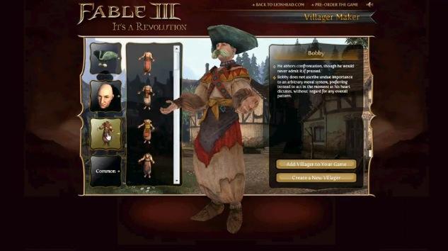 Fable III Gets An Online Villager Maker