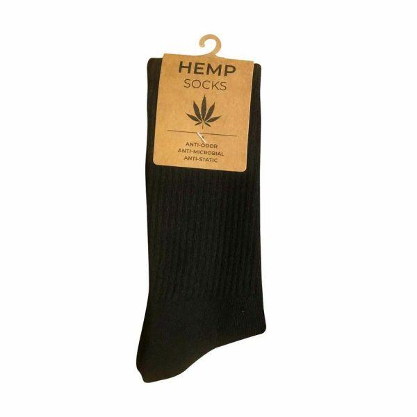 Hemp Cotton Crew Socks Black - Size 6-12