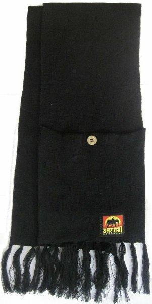 Hemp Organic Cotton Pocket Scarf Black