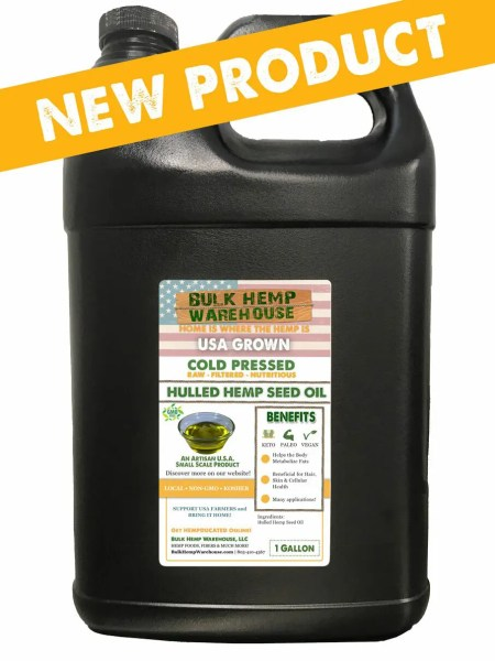 USA Grown and Processed Hulled Hemp Seed Oil 1 Gallon