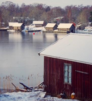 Sjöbodar vinter Foto:Erik Norrman