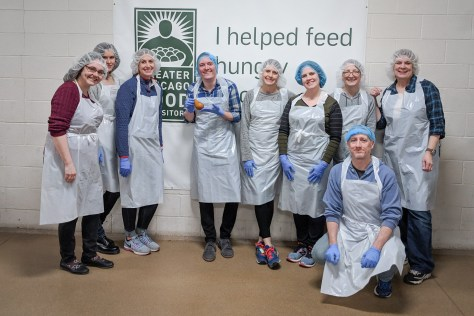Community Service Volunteer Team Photo at Greater Chicago Food Depository
