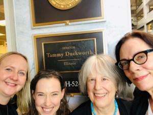 Heidi Kuehl, Sarah Sherman, Sally Wise, and Keith Ann Stiverson at Senator Tammy Duckworth's office for AALL Lobby Day 2019