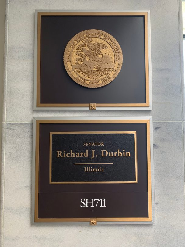 Richard J. Durbin's Senate Office Sign