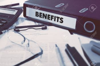 Benefits - Ring Binder on Office Desktop with Office Supplies. Business Concept on Blurred Background. Toned Illustration.