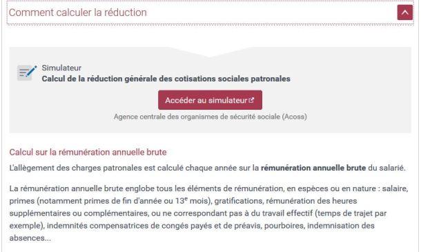 Calcul de la réduction générale des cotisations pour l'année 2020