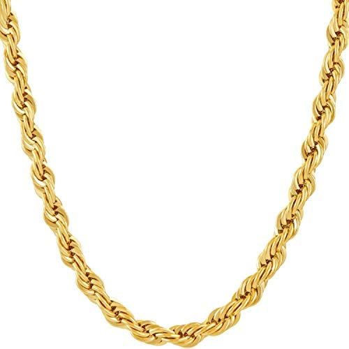 LIFETIME JEWELRY 6mm Rope Chain Necklace for Men and Women 24k Real Gold Plated