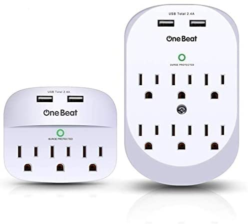 2 Pack Wall Surge Protector, Multi Plug Outlet Extender, Mount Outlet Wall Adapter with 2 USB Charging Ports 2.4 A, 490 Joules, ETL Certified for Home, School, Office