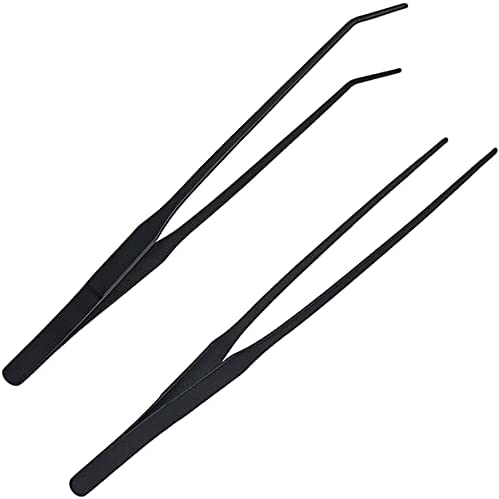 2 Pcs Feeding Tongs, Aquarium Tweezers Stainless Steel Straight and Curved Tweezers Set 27cm/10.6 inches Aquascaping Tools for Hold Worms, Reptiles, Lizards, Bearded Dragon (Black)