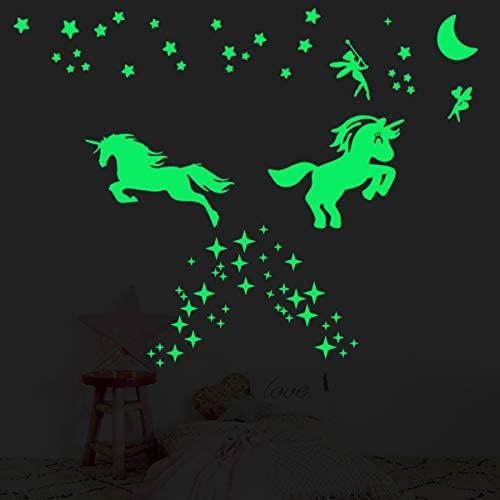 2 Sheet Glow in The Dark Stars for Ceiling,Ultra Brighter Unicorn Wall Decor,Kids Bedroom Decoration,Wall Stickers for Bedroom or Party Christmas Birthday Gift