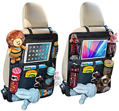 Car Backseat Organizer for Kids Kick Mats Car Seat Organizer Protector Travel Accessories Waterproof and Durable with 10