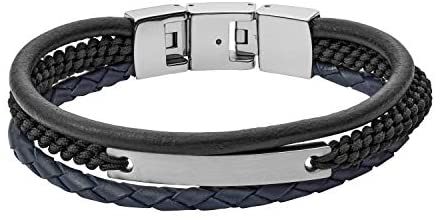 Fossil Men's Plated Stainless Steel Engravable Personalized Gift ID Bracelet