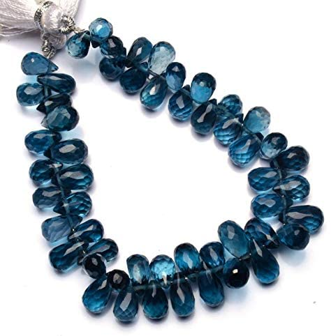 GEMZ 16 inch Strand of Natural London Blue Topaz Tear Drop Shape Faceted Cut Blue Color briollete Beads for DIY Jewelry Making- Earring Necklace Bracelet.
