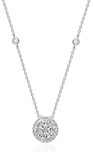 Gin & Grace 14K White Gold Natural White Diamond (I1) Pendant Necklace with Gold Chain for Women Jewelry Gifts