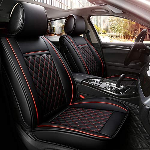 INCH EMPIRE Easy to Clean Car Seat Cushions Synthetic Leather - Universal Fit Car Seat Cover for Corolla Cruze Legacy Malibu Maxima Tacoma (Black with Red Line Full Set)