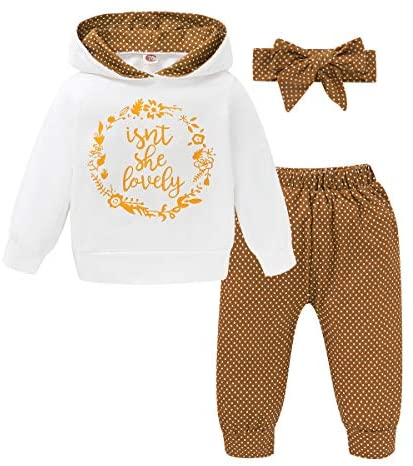 WESIDOM Baby Girl Clothes,Hooded Long Sleeve Printed Leopard Pants Headband Sweatshirt Toddler Outfit Clothing Sets
