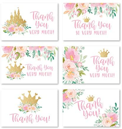 24 Floral Princess Baby Shower Thank You Cards With Envelopes, Kids Thank-You Note, 4×6 Gratitude Card Gift For Guest Pack For Party, Birthday for Girl Children, Cute Pink Royal Queen Event Stationery