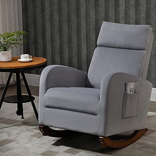 AVAWING Home Rocking Chair, Mid Century Glider Chair Upholstered Frosted Velvet High Back Arm Chair Nursery Rocking Chairs with Solid Legs and Side Pockets (Gray)