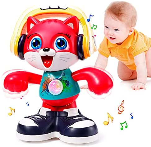 Baby Toy 12-18 Months Dancing & Musical Cat Toddlers Toy for 1 2 3 Year Old Boy Girl Baby Light Up Recording Interactive Toys for 1 Year Old Kids Early Educational Gift Toys for 1-2 Years Old Toddlers