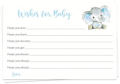 Elephant baby Shower Wishes for Baby Boys It's A Boy Blue Grey Gray Polka Dots Hello Baby New Baby Prayers Activities Printed Cards (24 Count)