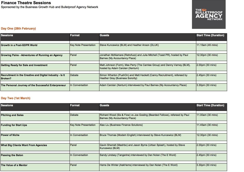 Prolific North Schedule