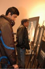 Checking out the art.