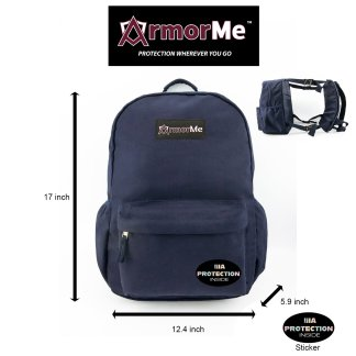 ArmorMe Double Bullet-resistant Panels Backpack blue front side