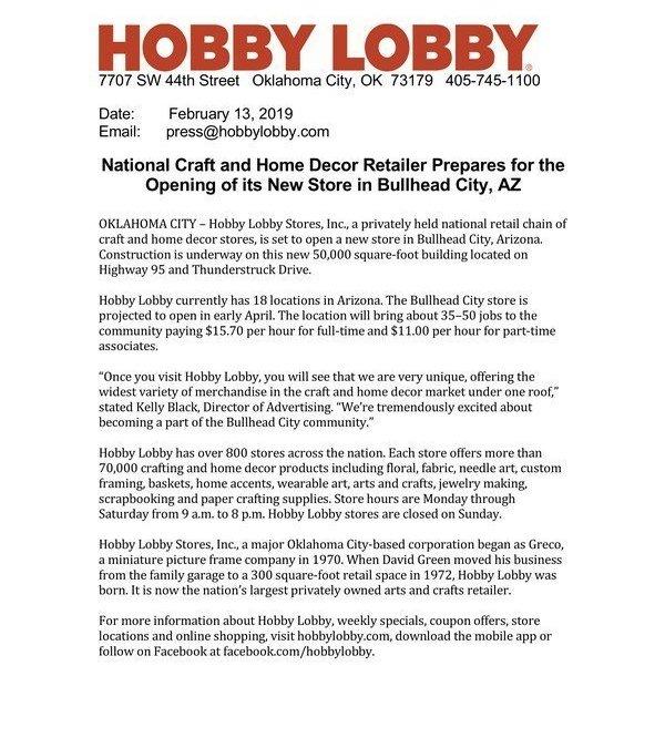 Hobby Lobby Getting Closer