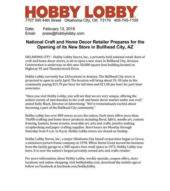 Hobby Lobby Getting Closer Bullhead Area Chamber Of Commerce