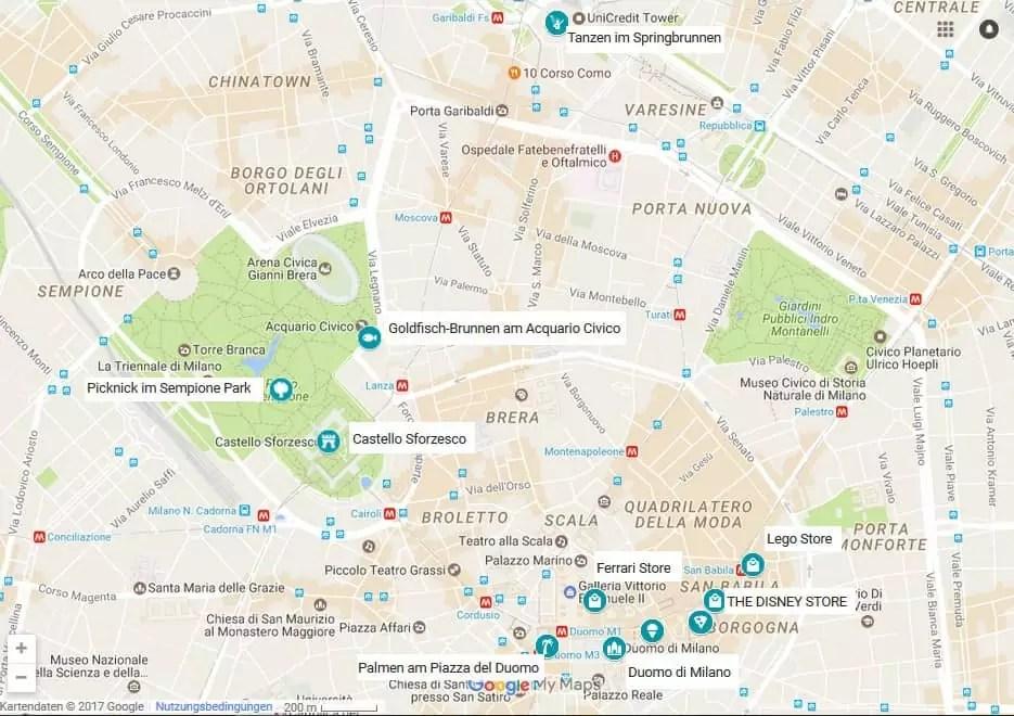 Mailand mit Kind - 11 Tipps Karte