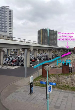 P+R Tipp Sloterdijk, kostenlos parken am Wochenende