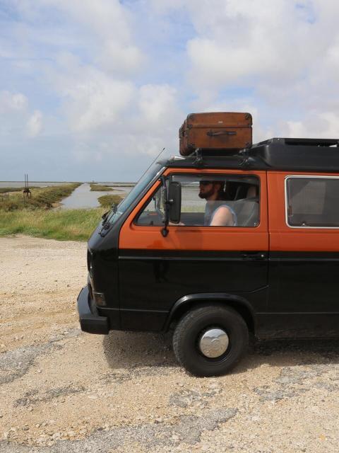 VW Bulli im Flussdelta Camarque.