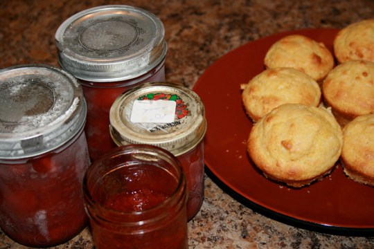 Strawberry Jam and Fresh Corn Muffins