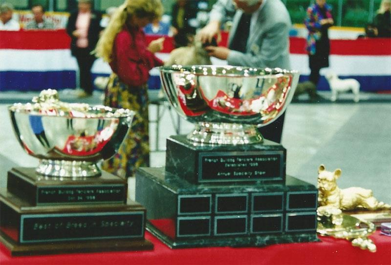 Trophy table, FBFA Specialty, 1998. This was the first EVER French Bulldog specialty held in Canadian breed history.