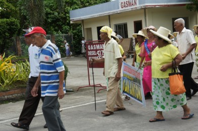 Slow walk for the parade of the elderly in Bulusan