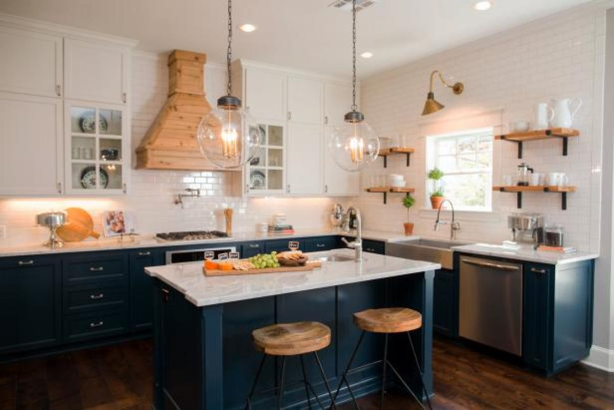 Dark Teal Kitchen Cabinetry Joanna Gaines Rachel Whyte HGTV On Bumble and Bustle