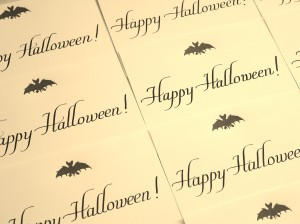 Happy Halloween in Italic lettering on Swash Letterpress' custom cards