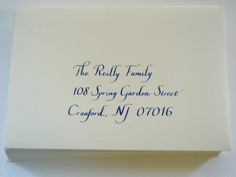 Italic calligraphy, blue ink