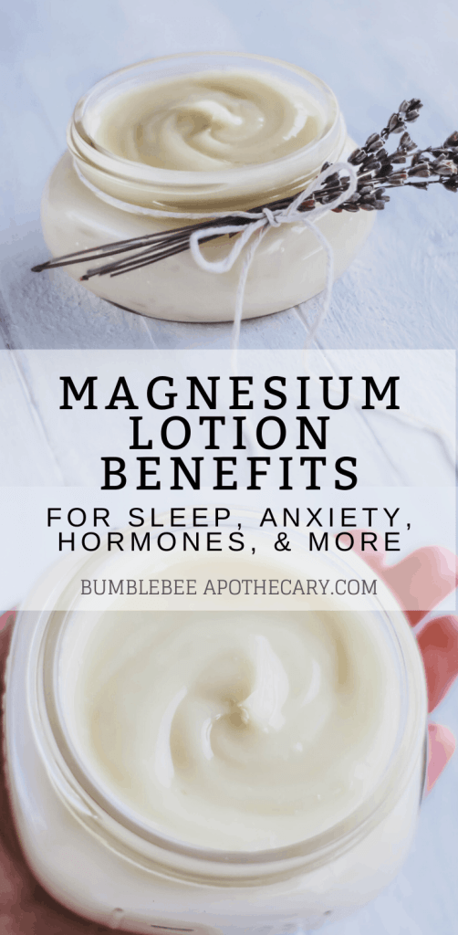 Magnesium lotion benefits for sleep, anxiety, hormones, and more #magnesium #magnesiumdeficiency #magnesiumlotion