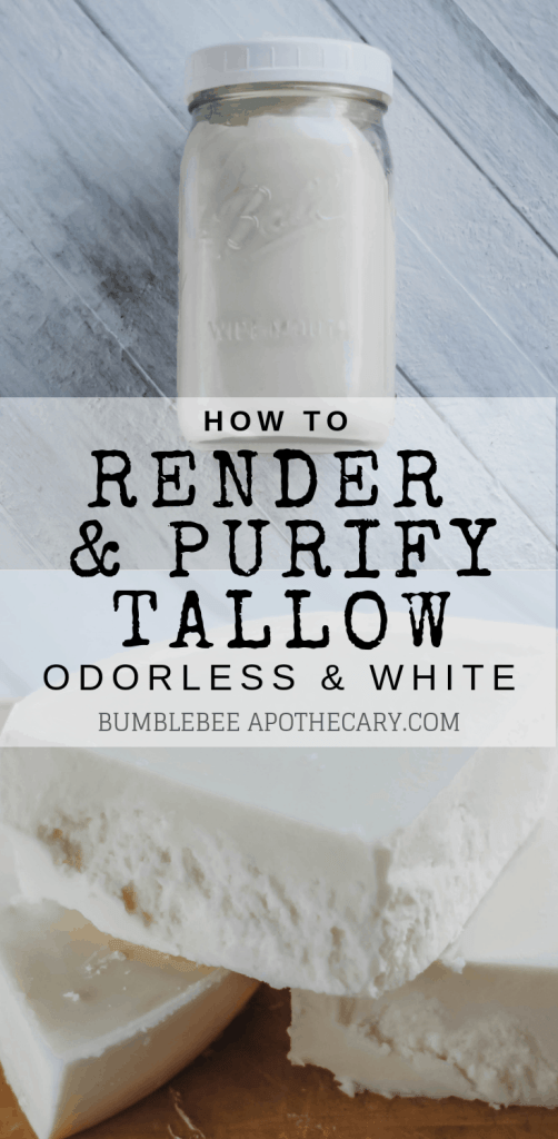 How to render and purify tallow so that it is odorless and white for soap making, candle making, tallow balm, skincare, cooking, and more! #tallow #grassfed #wapf #nourishingtraditions