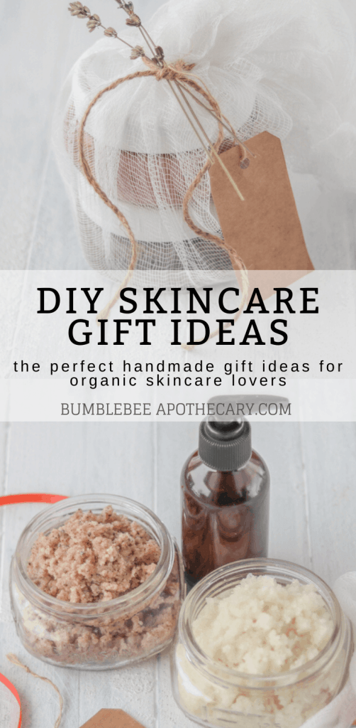 This is an awesome list of DIY skincare gift ideas. I've made all of them, and they were really easy! The organic skincare lovers in my family are going to be so happy with these. #diy #gits #skincare