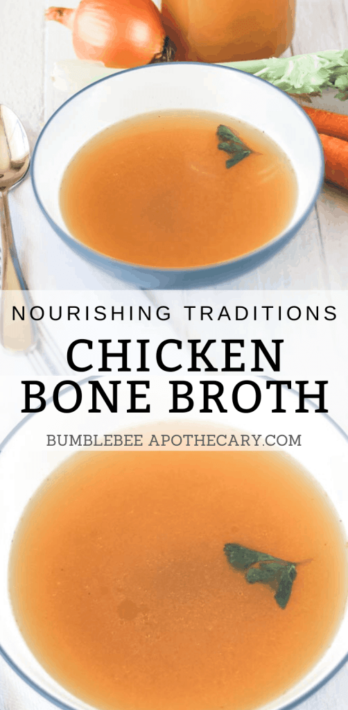 This shares everything I need to know to make delicious chicken bone broth. It's really easy, too! #bonebroth #chickenbroth #nourishingtraditions #broth #stock