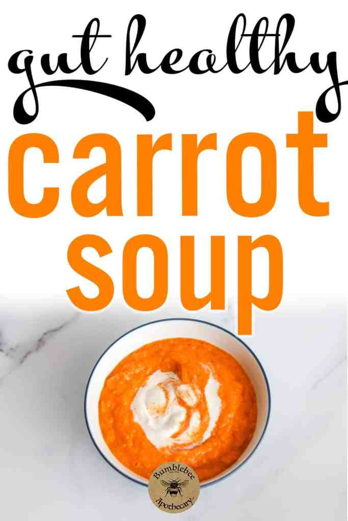 Easy and gut healthy carrot soup recipe that is nourishing and satisfying. Makes a fast and easy dinner or lunch. Super quick to make, so delicious, and so good for you! #healthyrecipes #nourishing #gapsdiet