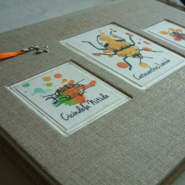 An A4 guestbook bound in Irish Linen buckram, with beetle illustrations on the cover, and an orange bookmark.