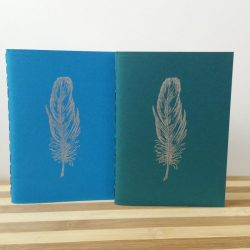 A blue and a green pocketbook, each with a silver feather stamped on the cover