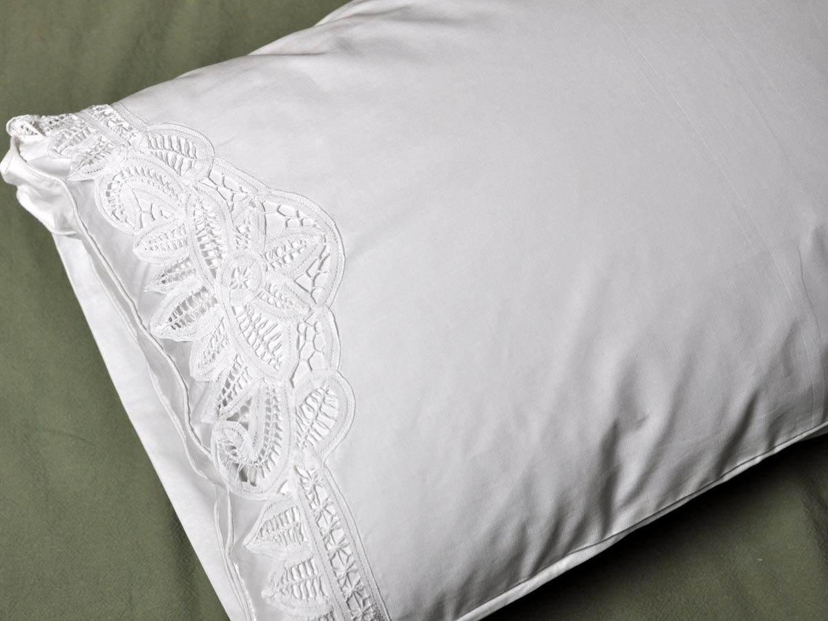Pair Of White Cotton Battenburg Lace Pillowcases